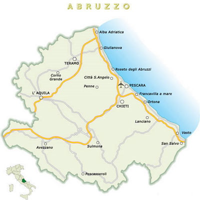 карта абруццо, карта региона абруццо