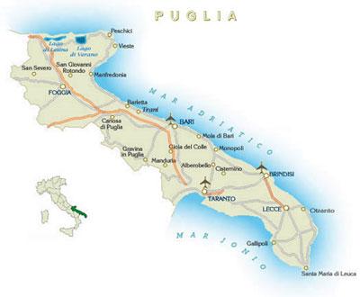 апулия, карта региона апулия